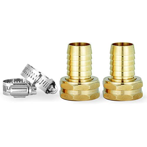 Solid Brass Garden Hose Repair Kit,Hose Connector,2 PCs Female Hose End/Mender,Fits All 3/4-Inch Garden Hose
