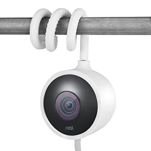 Supporto versatile arrotolabile per Nest Cam Outdoor, Gancio a collo d'oca flessibile per videocamera Nest Outdoor attrezzi e senza danneggiare la parete - di Wasserstein (Bianco)