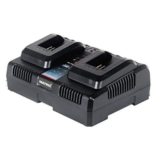 MATRIX 511010600 X-One Doppelladegerät Akkuladegerät für X-One/Power 20 Serie 20 Volt zum gleichzeiten laden von zwei Akkus