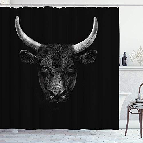 LOSNINA Duschvorhang,Bull Natur Nutztier Schwarz Camargue Bull Face Wild Beast Horn,Hochwertige Qualität,180x180cm Wasserdicht mit Haken für Badezimmer