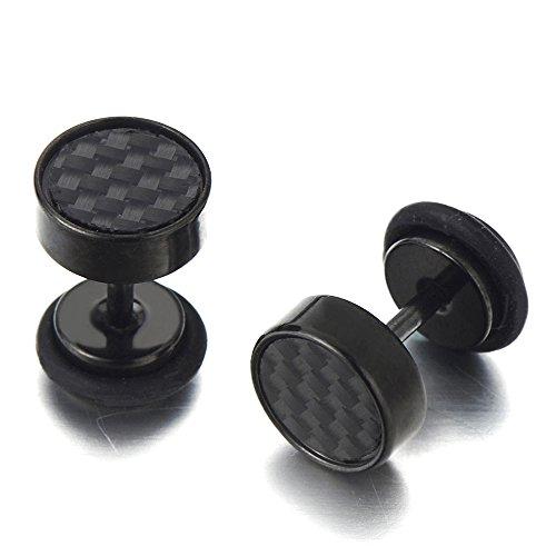 8MM 2 Negro Enchufe Falso Fake Plug, Pendientes de Hombre, Aretes, Acero Inoxidable, con Carbono Fibra