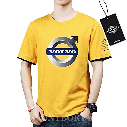 SPONYBORTY Hombres Undergo Confortable Algodón Vo-l.vo.s Corto Manga Redondo Cuello Camisetas X/yellow/M
