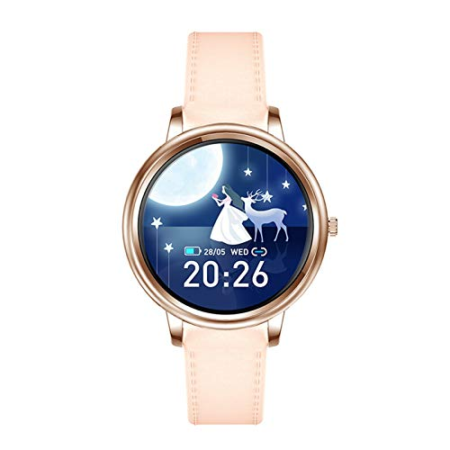 XXY Smart Watch Style Full Touch Control Full Screen Women Women SmartWatch Lady Health Watch para iOS Android (Color : Gold Leather)