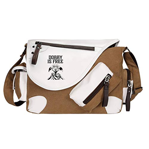 QLma Harry Potter Bolso de hombro Good Friend Dobby School Bag Bolso de mensajero para niños 35x26x11cm Marrón