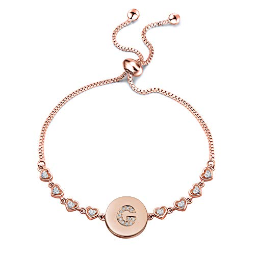 WUSUANED Rose Gold Initial Bracelet Letter Bracelet Adjustable Chain Bracelet Personalized Jewelry For Women Girls (rose gold-G)
