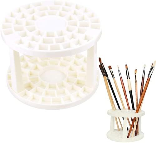 Porte-pinceau Organisateur de pinceau Porte-stylo avec 49 compartiments, Support de brosse en plastique rond blanc Porte-pinceau amovible Porte-crayon, pour stylos, pinceaux, pinceaux de maquillage A
