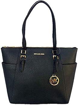 Michael Kors Charlotte Saffiano Leather Large Top Zip Tote - Black