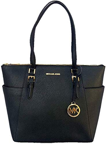Michael Kors Charlotte Saffiano Leather Large Top Zip Tote - Black
