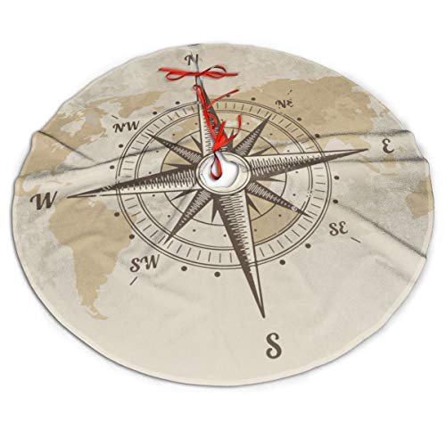 MJINSJIA-TS Vintage Nautical Compass Old World Map Christmas Tree Skirt Gorgeous for Xmas Party Ornaments Decoration Accessory Gift