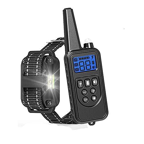 YYQQ Collar adiestramiento para Perros,Collar antiladridos,Recargable y Resistencia al Agua de IP67 con un Alcance de 800m Modo de Vibración,Advertencia de Sonido,Luz,D