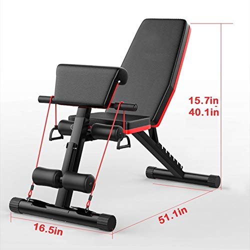 Goutique Adjustable Bench,Utility Weight Bench for Full Body Workout- Multi-Purpose Foldable Incline Decline Bench Roman Chair Sit Up Incline Abs Benchs Flat Fly Weight Press Fitness (Black)