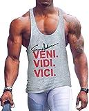 Befox - Camiseta interior de tirantes para hombre, material elástico, de algodón, para el gimnasio y de estilo atlético gris XXL