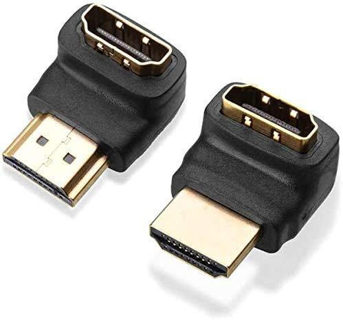 ADWITS Adaptador de ángulo Recto de HDMI A Macho a Hembra, [2 Paquetes] Combo de Adaptador HDMI de 270 Grados y 90 Grados, Negro