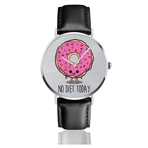 Unisex Business Casual Keine Diät Heute Donut Uhren Quarz Lederuhr