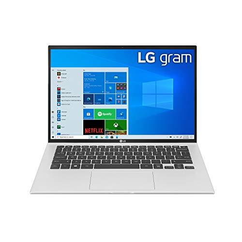 Product Image 1: LG Gram, Thin & Light Laptop – 14″ IPS WUXGA (1920 x 1200) 11th Gen Intel Core i7 1165G7 CPU, Intel Iris Xe Graphics, 16GB RAM, 512GB NVMe SSD, 22 Hour Battery – 14Z90P-K.AAS8U1 -Silver (2021)