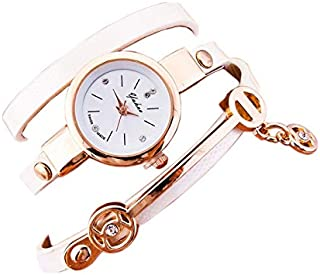 Wrist Watches for women, white leather strap