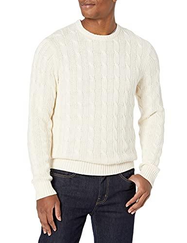 Marca Amazon - Goodthreads - Jersey de algodón suave de punto trenzado con cuello redondo para hombre, Vintage Blanco, US M (EU M)