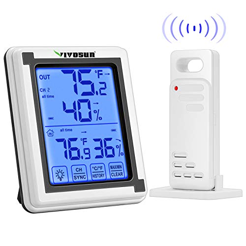 VIVOSUN Digital Hygrometer Indoor Outdoor Thermometer Humidity Monitor with Touchscreen LCD...