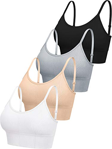 4 Pieces V Neck Cami Bra Padded Seamless Bralette Straps Sleeping Bra for Women Girls (X-Large-XX-Large, Classic Style)