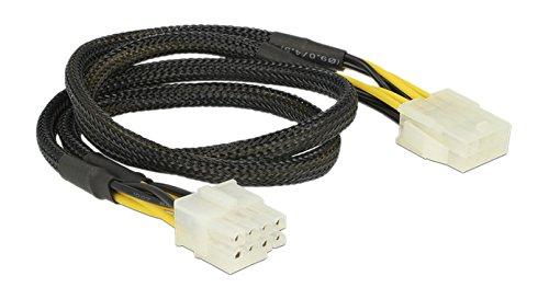 BASE-83653 – kabel (EPS 8-pins), EPS (8-pins), mannelijk, vrouwelijk, rechts, zwart, geel).