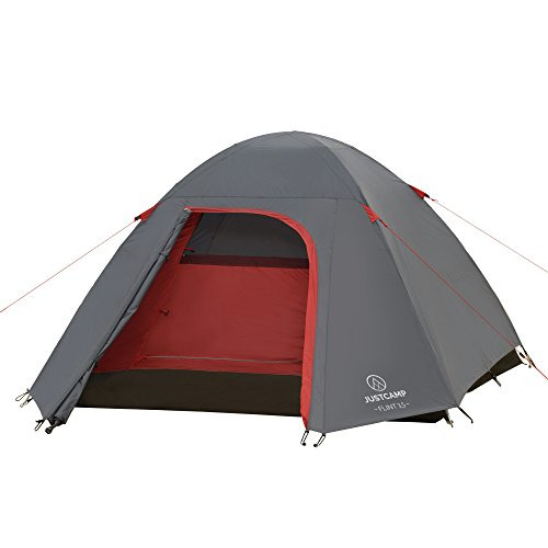 JUSTCAMP Campingzelt Flint 3.5, 3-4 Personen Kuppelzelt, Leicht, Kompakt, 3,84 kg - grau, Festival, Urlaub