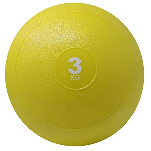 POWRX Slam Ball Balón Medicinal 3 kg - Ideal para Ejercicios de »Functional Fitness«, fortalecimiento y tonificación Muscular - Contenido de Arena y Efecto Anti-Rebote + PDF Workout (Amarillo)