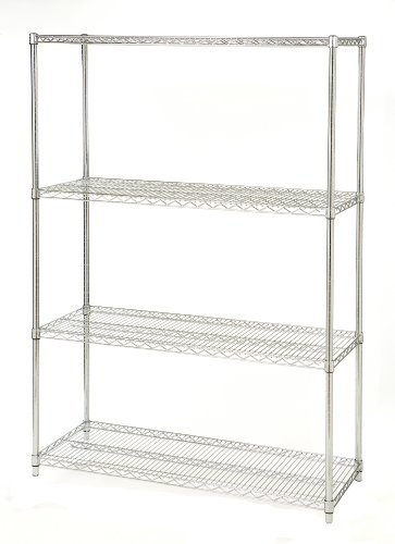 Seville Classics - Estantería de 4 estantes, 45,7 x 121,9 x 182,8 cm, NSF, Acero, Ultra Zinc, 121.9 x 45.7 x 182.8 cm