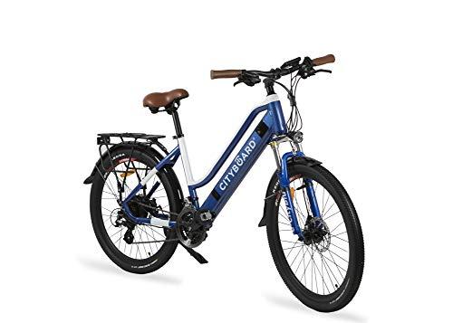 Cityboard E- City Bicicleta Eléctrica, Unisex Adulto, Azul/Blanco, 26 Pulgadas