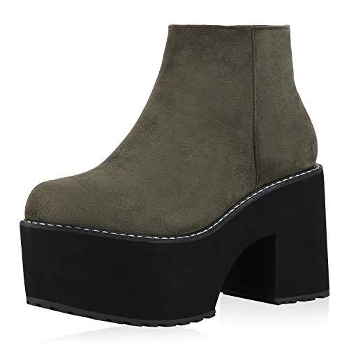 SCARPE VITA Damen Stiefeletten Plateau Boots Blockabsatz Schuhe Wildleder-Optik High Heel Booties...