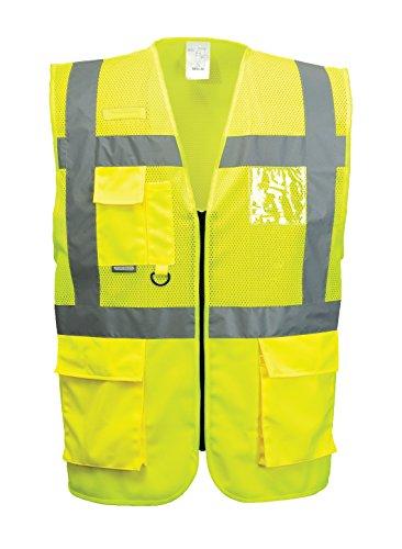 Warnweste, atmungsaktiv, mehrere Taschen, gelb