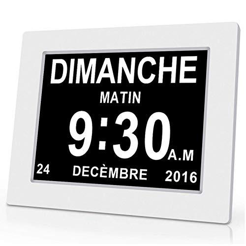 """OLDTIME® 8"""" LCD Horloge Numérique Calendrier avec Date, Jour Et Heure   Horloge Alzheimer   C'est pour Les Parents, Grands-Parents Et Enfants-White"""