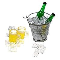 sharprepublic 飲み物モデル 夏シーン 1/12 1/6ドールハウス飾り ワインボトル カップ アイスバケツ 氷 6点入り - 緑