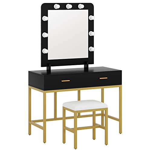 Tribesigns Vanity Table Set with Lighted Mirror, Makeup Vanity Desk with 9 Lights, Cushioned Stool and 2 Drawers for Women Girls, Dressing Table for Bedroom