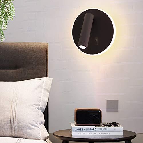 Apliques 2 y 1 diseño creativo 8 W lámparas de lectura con interruptor 350° giratorio 3W focos de pared LED para interiores para cuadros y vitrinas dormitorio de noche sala de estudio color negro