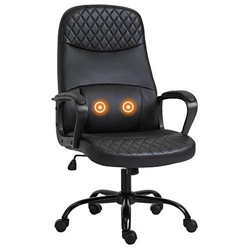 Vinsetto Bürostuhl massage, höhenverstellbarer Chefsessel, Gamingstuhl mit Massagefunktion, ergonomischer Drehstuhl, Massage Sessel, Kunstleder, Stahl, Schwarz, 60 x 70 x 106-115 cm;