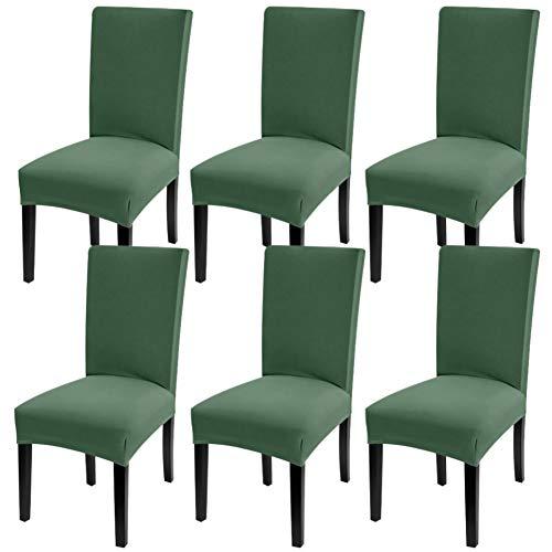 YISUN Universal Stretch Stuhlhussen 4er 6er Set Stuhlbezug für Stuhl Esszimmer (6er Set, Dunkler Grün)