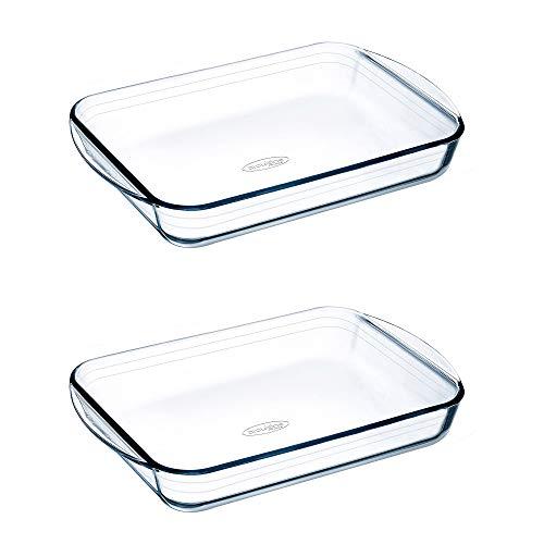Pyrex O'Cuisine - Horno rectangular (2 unidades, 32 x 20 cm, 2 unidades), transparente