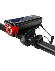 EpochAir 自転車ライト 自転車用ヘッドライト 高輝度 T6 LEDライト USB充電式 ソーラー充電 スマホ充電 懐中電灯兼用 2000mah 5モード点灯 350ルーメン IPX4防水 防振 自転車ベル ライトホルダー付き