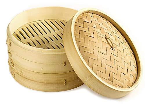 Vaporera de bambú para cocinar al vapor, cocedor 2 nivel con tapa, cesta de bambú, recipiente de bambú, oriental, cocer al vapor (14x15cm 2pisos)