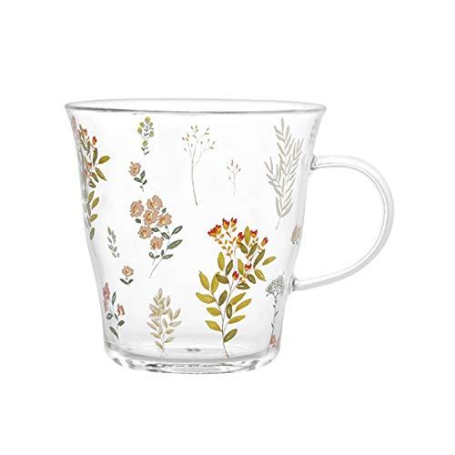 tazas para niños Copa de té de la flor Taza de té de cristal transparente Taza de café resistente al calor con la manija pequeña flor rota de la flor de desayuno regalo novela para niñas 339ml taza de
