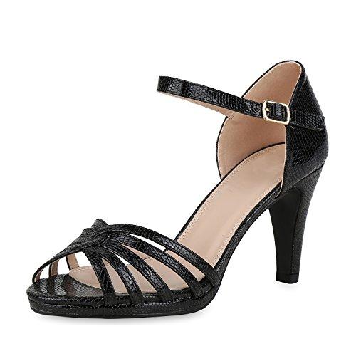 SCARPE VITA Damen Pumps Sandaletten Leder-Optik Riemchensandaletten Prints Schuhe Stiletto High Heels Elegante Party 159721 Schwarz Prints 39