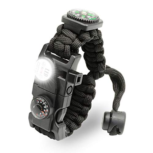 LeMotech 21 in 1 Adjustable Paracord Survival Bracelet, Tactical Emergency Gear Kit Includes SOS LED...
