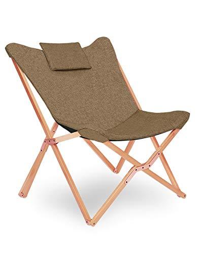 Klappstuhl Liegestuhl Gartenliege Lounge Sessel Modern Design Hochlehner TV Relaxliege Stühle Klappbar Mit Holz und Stoff Für Camping Drinnen und Draußen Braun