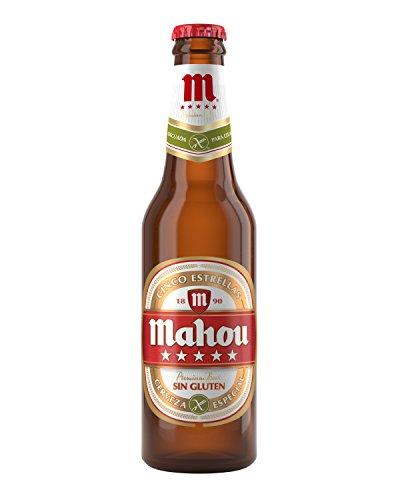 Mahou 5 Estrellas Sin Gluten Cerveza Especial, 5.5% de Volumen de Alcohol - Botella de 33 cl
