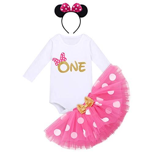 Baby Mädchen 1. Geburtstag Outfit Minnie Maus Kostüm Baumwolle Langarm Body Strampler Prinzessin Gepunktet Tütü Tüll Rock Stirnband 3tlg 1 Jahr Party Bekleidungsset Fotoshooting Rose - One 1 Jahr