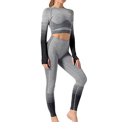 Litthing Damen Fitness Kleidung 2er-Set Gradient Trainingsanzug Nahtloses Yoga Suit Shirt Lange Ärmel Hosen Leggings Hoher Taille Gym Joggen Enge Sportanzüge