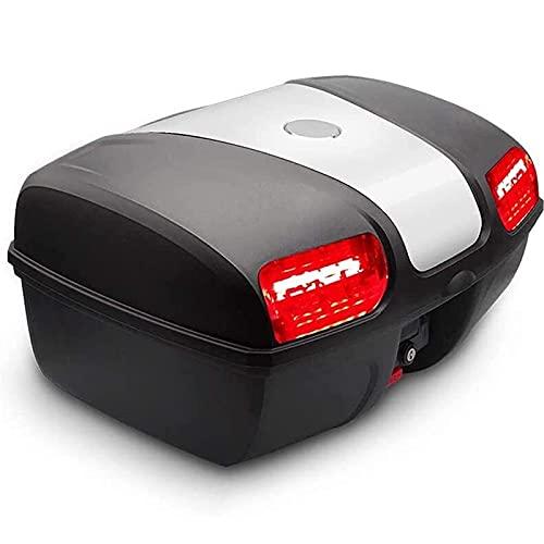 YTBLF Caja De Equipaje para Maletero Trasero para Motocicleta De 47L con Luz LED, Caja Impermeable para Motocicleta, Sistema De Liberación Rápida, Puede Almacenar 2 Cascos