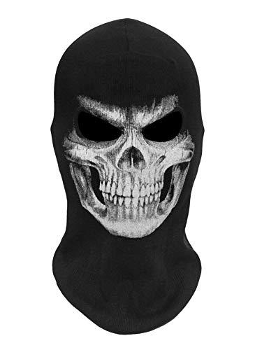 whiteswan Halloween Gesichtsmaske - Horror Maske Skelett Kopfbedeckung Scary Horror Kostüm Cosplay Zubehör Ghost Skull Horror Maske Halloween Für Festivals