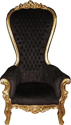 Casa Padrino Sillón Trono Barroco Majestic Mod1 Negro/Dorado - Sillón Gigante - Silla Trono