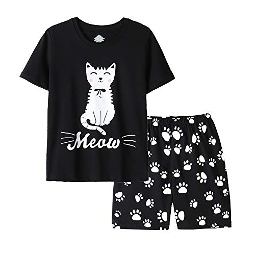 Vopmocld Big Girls Summer Short Sleeve Pajama Sets Cute Cat Patterns Sleepwear Nighty 100% Cotton, Black, 10 Years